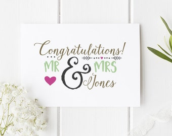 Personalised Wedding Card Mr and Mrs - Stylish Personalised Marriage Card To Celebrate A Beautiful Wedding Day A6 Card
