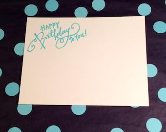 Happy Birthday Flat Cards  and Emvelopes - Blue and White - Set of 8