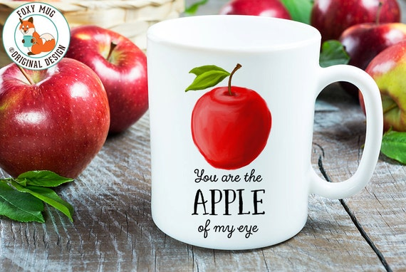 Coffee Mug Apple Coffee Cup - Great Gift for Vegan or Vegetarian - Funny Mug - Apple of Me Eye Mug