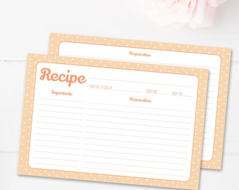 """Cute 4x6"""" pastel printable recipe cards, double sided, kitchen organizer, instant download, bridal shower, wedding gift"""