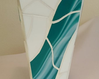 """Vase - Mosaic Teal and White - 10 """""""