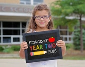Year Two Sign, First day of school sign printable, School Printable Sign, First day of Year 2, Year Two, UK School sign, School chalkboard