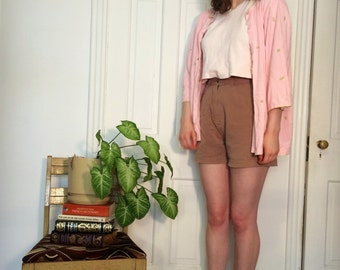 vintage pink embroidered frog cardigan