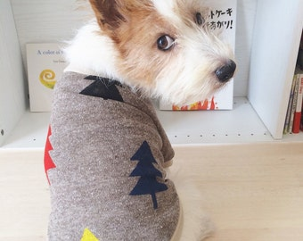 """Dog Clothes Dog Shirt """"Tree"""" Hand Painted Brown"""