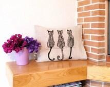 Hand drawn pillowCASE. Linen pillowCASE. Handmade pillowCASE. Natural. Cats. Zentangle art. PILLOWCASE ONLY!