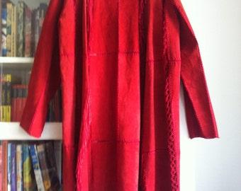 Gorgeous Red Suede Coat Tassles & Crochet Size M