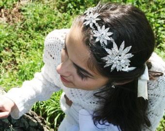Crown Silver Flowers and Swarovski Floral Bridal Hairstyle Retro Vintage Bridal Hairstyle Weddding Handmade