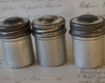 Assemblage Storage Supply // Mixed Media Metal & Altered Art // Metal Film Canisters // Three Per Lot