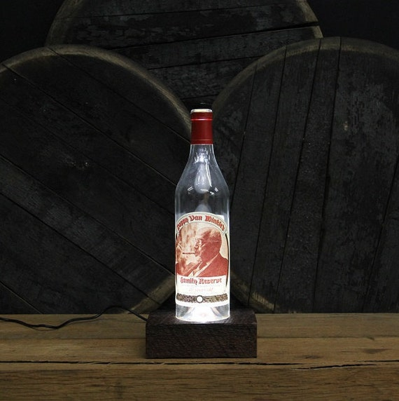 Pappy Van Winkle (20 Year) Bourbon Bottle LED Light / Reclaimed Wood Base / LED Desk Lamp / Handmade Lighting / Upcycled Bourbon Bottle Lamp