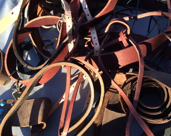 Leather Scrap Lot - Leather Remnants - Strips and odd pieces 4 1/2 pounds
