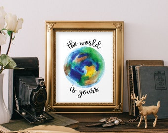 Teen room decor, Typography print, Printable art, Inspirational quote art, Quote print, Motivational quote, The world is yours BD-850