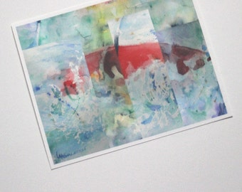 """Kayak Watercolor Art Print Picture Kayaking Watercolour Artwork Kayaker Gift Collage Painting Gift for Him Her Office Decor Whitewater 8x10"""""""