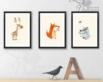 SET OF 3 Nursery Print, Nursery Decor, Forest Animals, Wild Animals. Watercolor Animals, Nursery painting, Animal painting, baby room decor