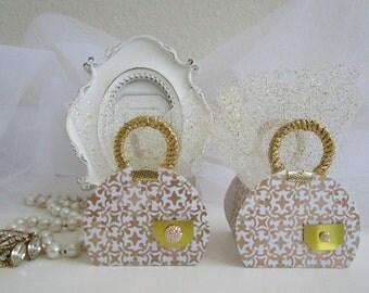 Wedding Favor Boxes, Favor Boxes, Bridal Favor Boxes, Anniversary Favor Boxes, Birthday Favor Boxes, Gold Favor Boxes, Purse Favor Boxes.