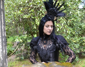 Black rococo ship fascinator-Feather fascinator-Black gothic fascinator-headpiece