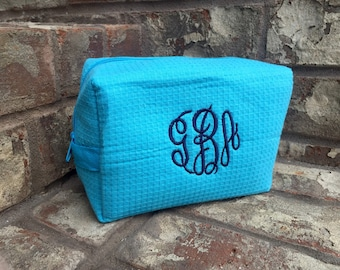 Monogrammed Waffle Weave Spa Cosmetic Makeup Bag