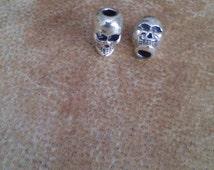 Small skull bead. Small hole bead. 2mm hole bead.