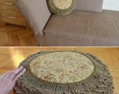 30% OFF Antique Velvet Pillow, Velvet and Brocade Pillow, Olive Green Velvet Pillow,Vintage Round Throw Pillow, Luxurious Decorative Cushion