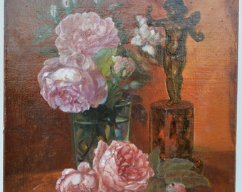 French Painting Oil on Canvas - Flowers - Still Life - Angel - by Calixte - French  Wall Picture - Home Decoration - Home Wall