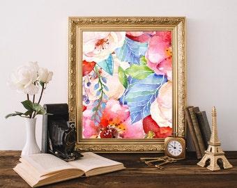 Floral watercolor print, Floral printable, Botanical wall art, Nursery wall decor girl, Baby girl nursery decor,  Baby wall decor, Girl art