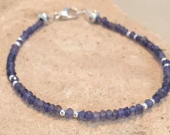 Blue bracelet, iolite bracelet, gemstone bracelet, sundance style bracelet, sterling silver bracelet, Hill Tribe silver bracelet,