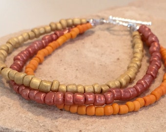 Rose, orange and tan triple strand seed bead bracelet, seed bead bracelet, fall bracelet, boho bracelet, gift for her, gift for wife