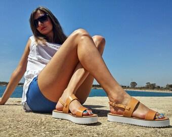 Platform Leather Sandals, Slingback Sandals. Genuine Leather Sandals, Handmade in Greece.