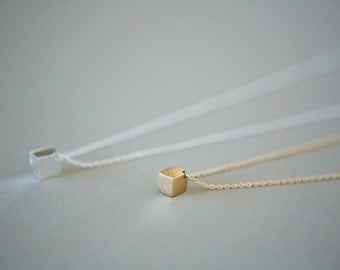 Minimalist Cube Necklace (Gold Plated), Minimalist Jewelry, Dainty Jewelry, Minimalist Necklace, Dainty Necklace, Simple Necklace