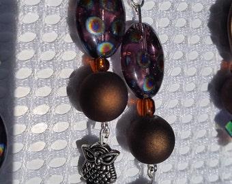 Purple spotted owl earrings