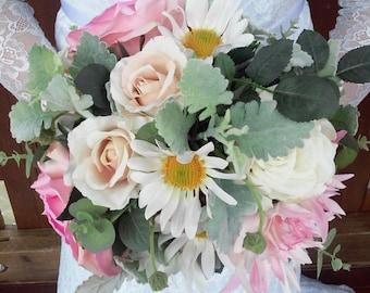 SALE! 3x Bouquets Wedding Package Bridal Bouquet, 2 x Bridesmaid Bouquet, 3 x Buttonholes, Silk Flowers