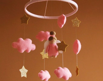 Baby mobile girl Pink mobile Baby girl mobile Nursery mobile Crib mobile Nursery decor Baby mobile Clouds Golden stars Angel Baby mobile