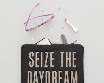 Canvas Zipper Handbag - Zip Clutch - Daydream Purse - Canvas Purse - Cosmetics Bag - Seize the Daydream Glitter Pouch - Alphabet Bags