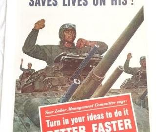 1943 Linen Backed World War II Propaganda Poster