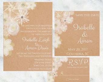 Painted Flower Invitation // Printable Invitation Set // Digital Download // Floral Invitation