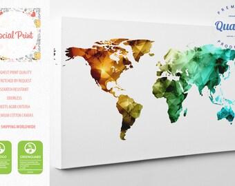 Triangular World Map Canvas Print / FREE SHIPPING / home decor, world map, triangular map, turquoise world map, canvas art, wall art
