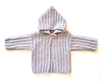 Baby coat hoodie , handmade, color silver, soft and pleasant. Autumn and winter season. Newborn gift. Baby Shower Gift. Knitted baby coat.