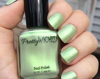 Pastel Mint Green Nail Polish, Eve Nail Polish, Pastel Nail Polish, Green Nail Polish, Iridescent Nail Polish