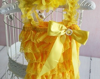 Yellow Lace Baby Romper, Baby Girl Romper, Petti Lace Romper, Newborn Romper, Toddler Romper, Baby Photo Prop, Lace Romper Set