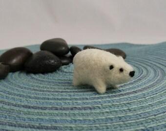 Miniature Polar Bear Soft Art Toy Microfauna Figurine