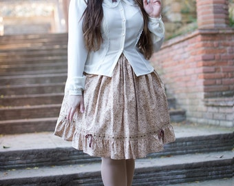 Lolita skirt, Classic Lolita skirt, Victorian skirt, Floral Skirt, Country lolita skirt,Vintage skirt,Midi skirt,Tea length skirt,Full skirt