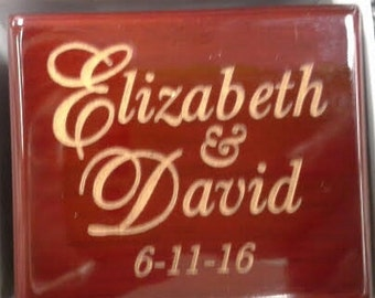 Engraved Rosewood Ring Box