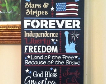 "Wood sign ""4th of July"" 12"" x 24"" patriotic home decor Independence Day wood sign 4th of July quotes statue of liberty celebrate 4th of July"