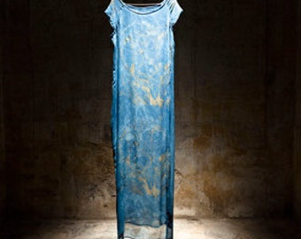 Long dress Fluid Blue indigo woman silk crepe, print dyeing plant, contemporary minimalist boho chic, size 38 S M HAPE