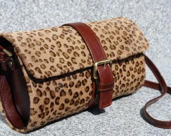 Leopard Print Leather Shoulder Handbag/Purse
