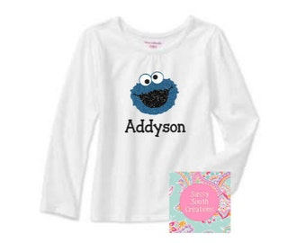 Personalized Glitter Cookie Monster Inspired Shirt
