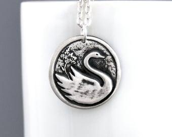 Swan Necklace Sterling Silver Swan Pendant Fine Silver Bird Jewelry Handmade Bohemian Rustic Minimalist Necklace