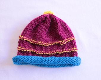 Magenta Stripe Knitted Toddler Hat