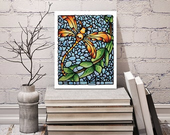 Dragonfly Art Print - For Your Wall - Dragonfly Image - Bedroom Art Decor - Wall Art - Gift Idea 8 x 10 inch - Signed by Artist Kathy Lycka