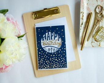 Birthday Card - Die-cut Card - Greeting Card - Blank - Gold Embossed - Navy