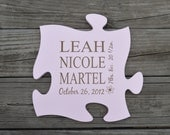 Personalized Puzzle Piece, Birth Announcement, Baby Shower Gift, Gift for Baby, Nursery, Family, Wedding Gift, Wall Art that Grows with You